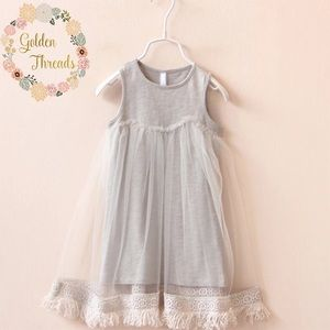 Other - 💕SUPER cute girls dress gray with sheer fringe