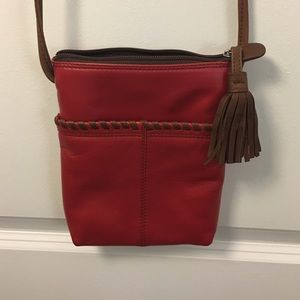 Genuine Red Leather Cross Body Bag