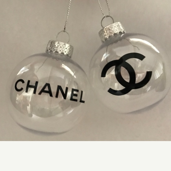 Chanel Christmas Ornaments.Chanel Logo Clear Ornaments Set Of 2 Boutique
