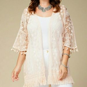 Sweaters - Plus Size Lace Cardigan with Fringe