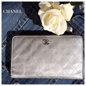 CHANEL Handbags - CHANEL METALLIC SILVER ZIP-AROUND WALLET