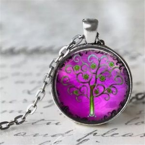 Purple Tree of Life Glass & Brass Necklace