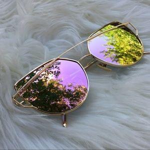 Pink Mirror Tint Pink Cat Eye Mirrored Sunglasses