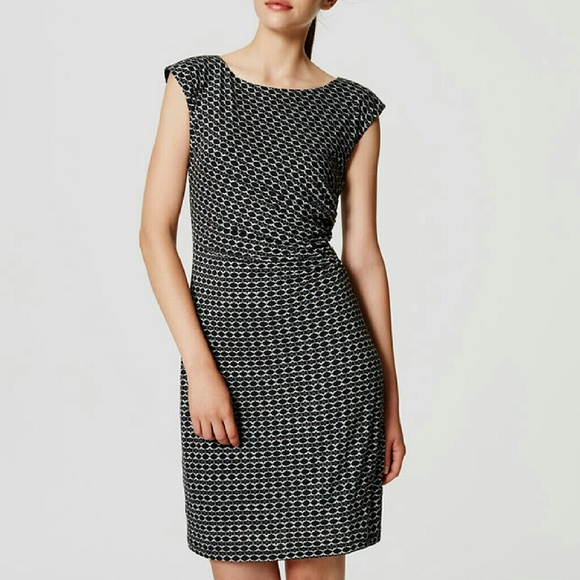 fbb33477f18ab Ann Taylor LOFT black mosaic dress side shirred