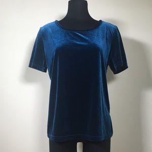 Jaclyn Smith Tops - Vintage Jaclyn Smith blue Velvet 90s knit tee L