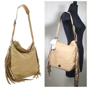 Kooba Handbags - Kooba Stevie bucket hobo fringe sand leather bag