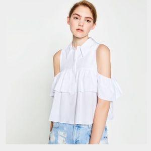 ebb61f18c5ad3 Zara Tops - Frilled cut out shoulder top form Zara! HP✨✨✨✨