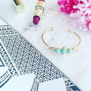 "Erica Rose Jewelry - ""Marisa"" Bracelet    Turquoise & Gold Cuff"