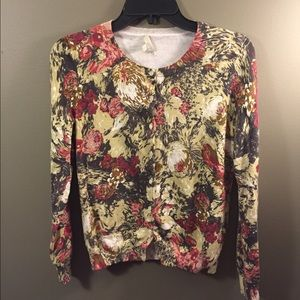 Talbots Floral Button Down Cardigan Small 