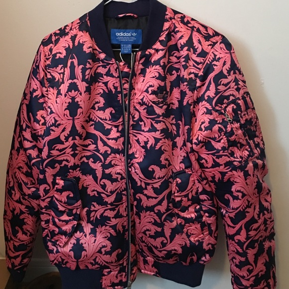 Details about adidas Originals Reversible Satin Bomber Jacket, Large, Pink, BRAND NEW