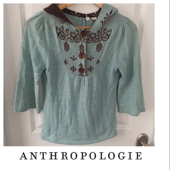 83% off Anthropologie Sweaters - Anthropologie Moth Blue & Brown ...
