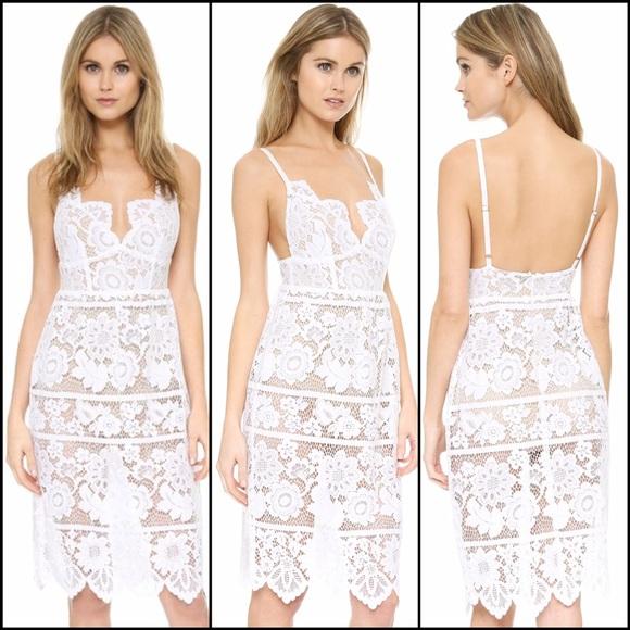 164fad9756 For Love Lemons White Gianna Lace Midi Dress L