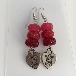 Holiday Red Gumdrops Earrings with Heart Charm