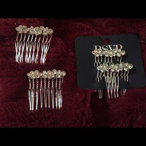 7/$25 New set of 4 Crystal Hair Clips Combs.