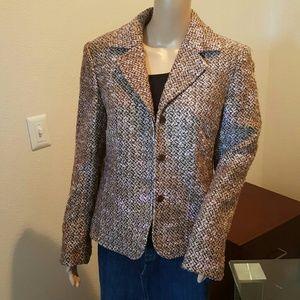 Grace Dane Lewis Jackets & Blazers - Tweed Blazer in Brown and Pink