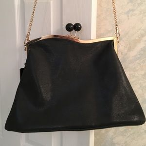 Leather Clutch Bag with Gold Chain