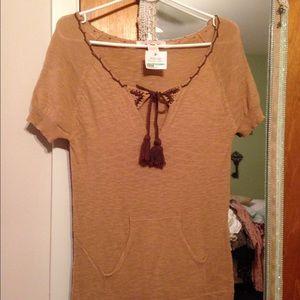Sweater Dress, Charlotte Ronson Boho Tunic, Tan S