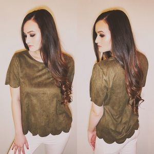 Tops - Olive Suede Scallop Top (PRICE FIRM)