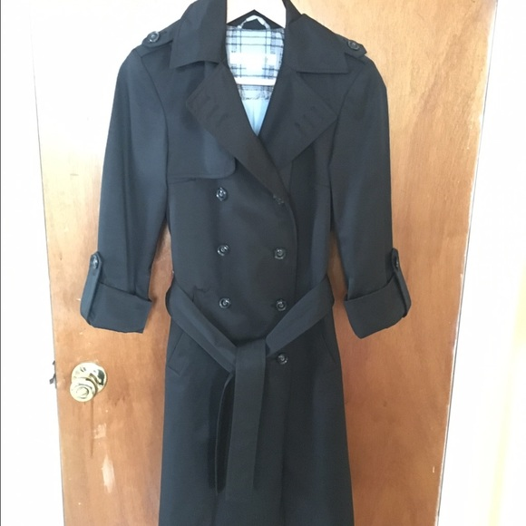 half price on feet shots of reliable reputation Larry Levine black double breasted trench coat