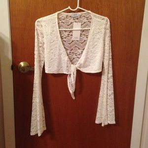 Tobi Tie-front Crop Top, White Lace, Bell Sleeve