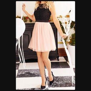 Lauren Conrad Black Lace & Pink Dress