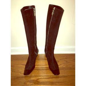Ellie Tahari Suede Patent Tall Boots Black