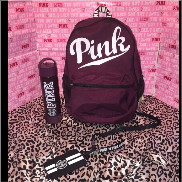 PINK Victoria's Secret - Vs PINK burgundy campus backpack bottle ...