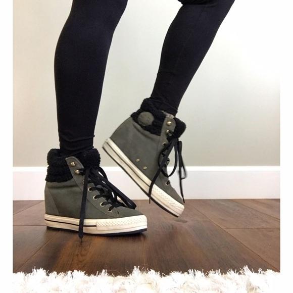 Converse Shoes - Converse Suede Olive Fur Wedge Sneaker Booties 580081df0