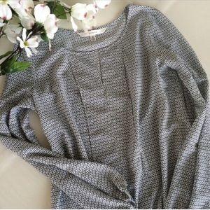 Studio M Tops - Long Sleeve Navy Print Blouse