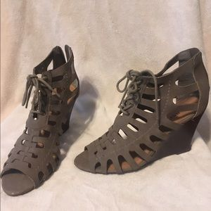 Grey Lace Up Wedges