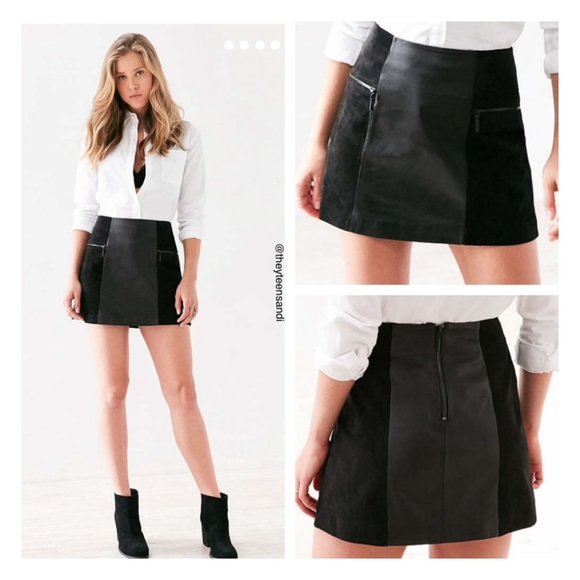 c0f9c46041 Urban Outfitters Skirts | Suede Panel Leather Mini Skirt | Poshmark