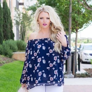 Tops - Floral Off the Shoulder Top with Long Sleeves