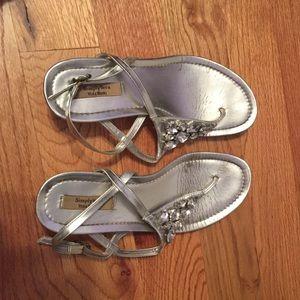 Vera Wang Shoes - Vera Wang Silver Rhinestone Thong Wedges