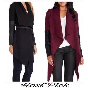 Jackets & Blazers - 🍁HP Contrast PU Leather Asymmetric Outerwear🍁