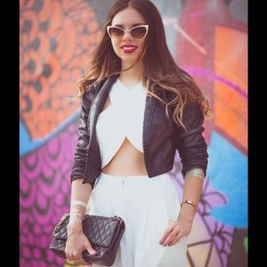 H&M black faux leather cropped jacket