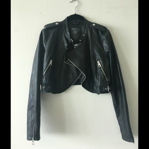 WORN ONCE: GUESS black leather jacket