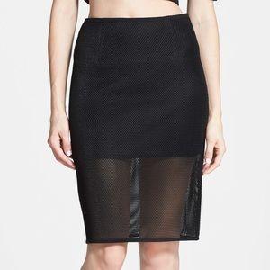 JOA mesh midi pencil skirt