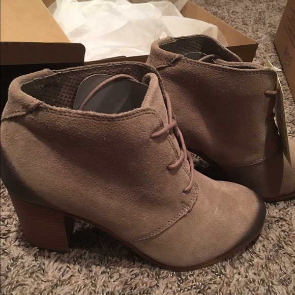 1f3b015a0 TOMS Shoes | Lunata Lace Up Bootie Taupe Burnished Suede | Poshmark