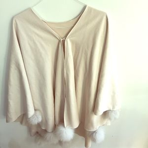 Jackets & Blazers - NWOT Poncho with fur pom poms