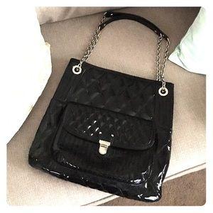 Coach Handbags - Coach Poppy Liquid Gloss Slim Tote - black