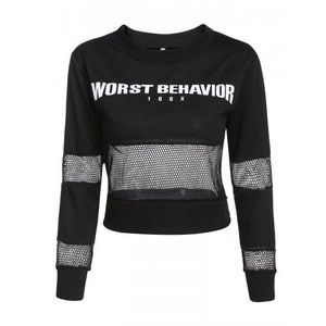 Tops - 'Worst Behavior' round neck hoodie