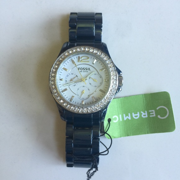 Fossil Accessories - Fossil Riley Blue Ceramic Ladies Watch CE1045 dc00a725b5