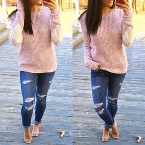 Sweaters - ♡Heart on your sleeve knit sweater jumper