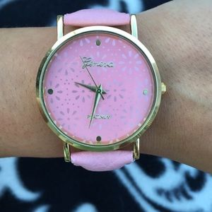 Pink Leather Band Watch Gold Face Watch
