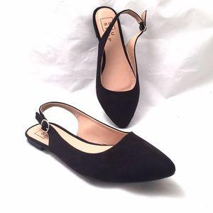 ShuShop Shoes - ShuShop Faux Suede Black Flats