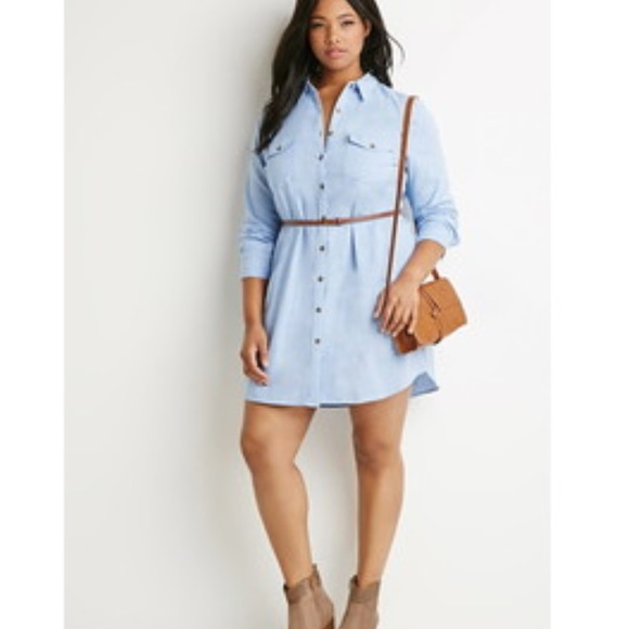 Forever 21 Plus Size Chambray Belted Shirt Dress