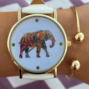elephant print leather band watch