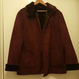 Faux Shearling Burgundy Coat