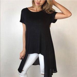 Black Flowy Asymmetric Tunic