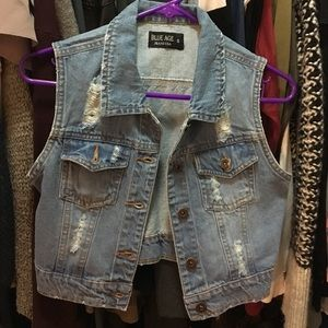 Jackets & Blazers - Cropped denim vest
